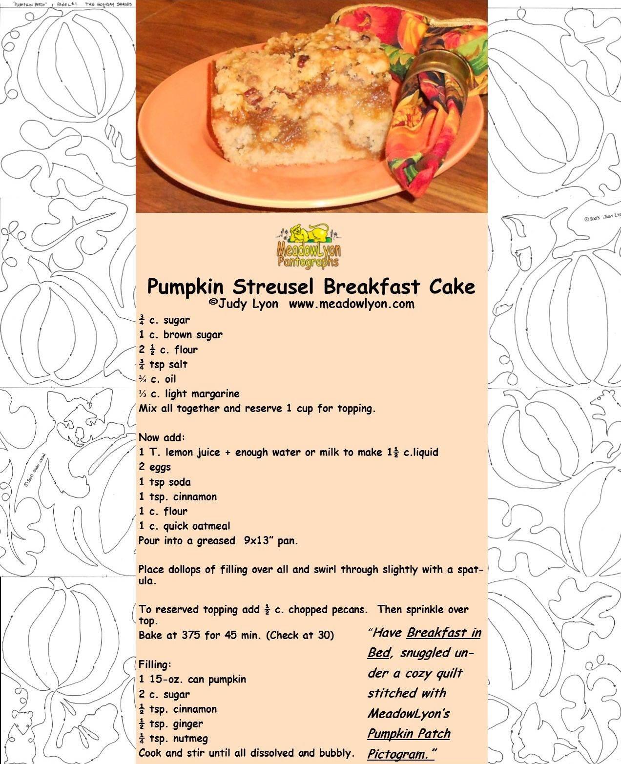 Pumpkin Streusel Breakfast Cake