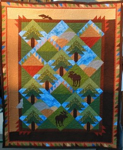 """Backwoods Pine Quilt"" by Judy Lyon quilted by Pat Brown"