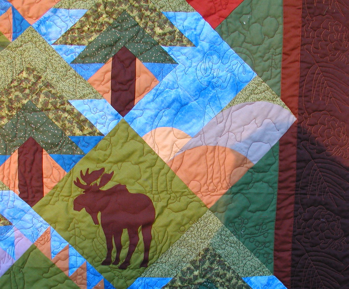 """Backwoods Pine Quilt"" close-up"