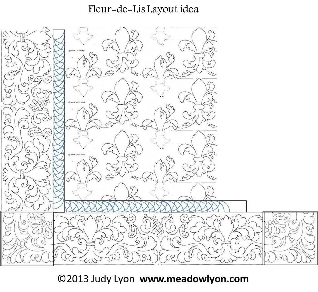 Fleur-de-Lis PDF 10″ Interlocking Pantograph | MeadowLyon Designs : fleur de lis quilt pattern - Adamdwight.com