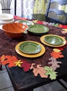 Thanksgiving table topper on table